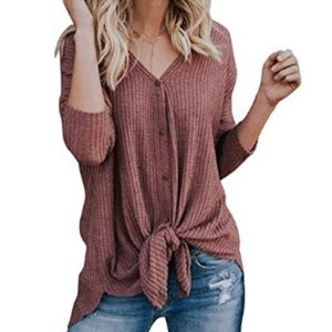 Waffle Knit Tie Front Button Down Tunic Top Red